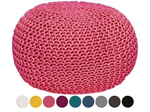 Pouf waschbar Sitzpouf Sitzpuff 100{76451fd25ef7e47bdbdfdce2a692f4ff1dc6e387fea020a87bb898468c9c1255} wasserfest Sitzhocker Strickhocker Bodenkissen Sitzgelegenheit Grobstrick-Optik Ø 55 x 37 cm EXTRAGROSS Farbe pink - Rosebloom