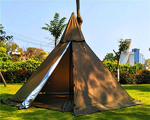 Portable Waterproof Camping Pentagonal Teepee Tent Outdoor Camping Pyramid Tipi Tent with Stove Hole