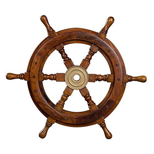 Dekoratives Steuerrad aus Holz mit Messingnabe. Von S bis XXL Nautik Optik, Boot, Schiff, Maritim (Größe L - 46 cm)