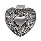 Sumnacon Caja de joyería vintage en forma de corazón pequeña vitrina para anillos collares pendientes baratijas almacenamiento organizador caso antiguo plata mini caja de recuerdo
