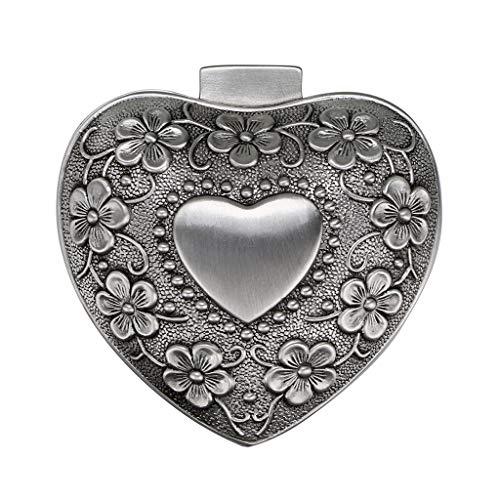 Sumnacon - Joyero con Forma de corazón para Anillos, Collares, Pendientes, joyero, Organizador de Joyas, Caja de Recuerdos de Plata Envejecida