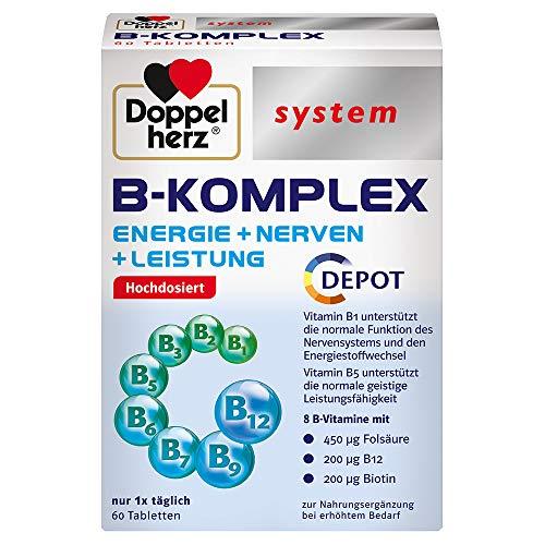 Doppelherz system B-KOMPLEX – ENERGIE + NERVEN + LEISTUNG – B-Vitamine unterstützen die normale Funktion des Nervensystems und den normalen Energiestoffwechsel – 60 Tabletten