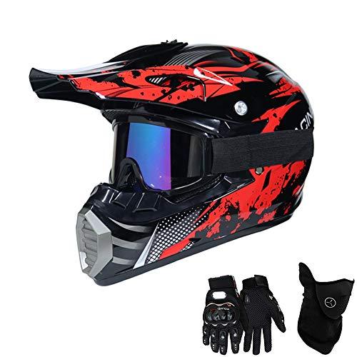 QYTK® Série MT-518 Motorradhelm, Full face Motocross Helm Sport Adventure Racing Motorrad-Helm Motocross Schutzhelm MTB Schutz Sicherheit Helm mit Handschuhe Maske Brille,M54~55CM