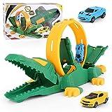Conjunto de juguetes de coche de pista de carrera, conjunto de bucle de carrera de cocodrilo, regalo de fiesta de cumpleaños para niños y niñas