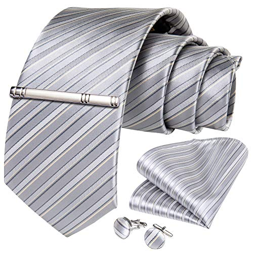DiBanGu ネクタイ シルバー ストライプ メンズ シルク ネクタイ フォーマル ネクタイ 結婚式 チーフ セット