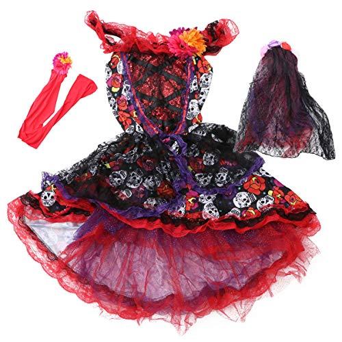 SOIMISS Tag Der Toten Halloween Kostüme Braut Zucker Schädel Kostüm Kleid Rock Mexikanische Blumenkrone mit Schleiergürtel Halloween Cosplay Zubehör L