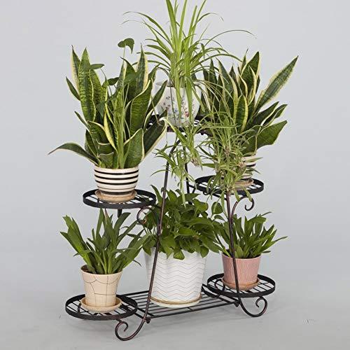 GFF Soporte de Flores de Hierro de 6 Niveles Estante de exhibición de clorofito Multicapa Estante de Maceta de pie Interior 81 y Tiempos; 23 y Tiempos; 74 cm (Color: Bronce)