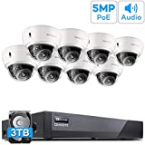 [Audio] ONWOTE (8) 5MP Dome PoE Security Camera System 3TB HDD, Vandal-Proof, 8CH H.265 5MP NVR, 8Pcs Outdoor Wired 5MP Ethernet IP Surveillance Cameras, 100ft IR, Wide Angle, 24/7 Recording