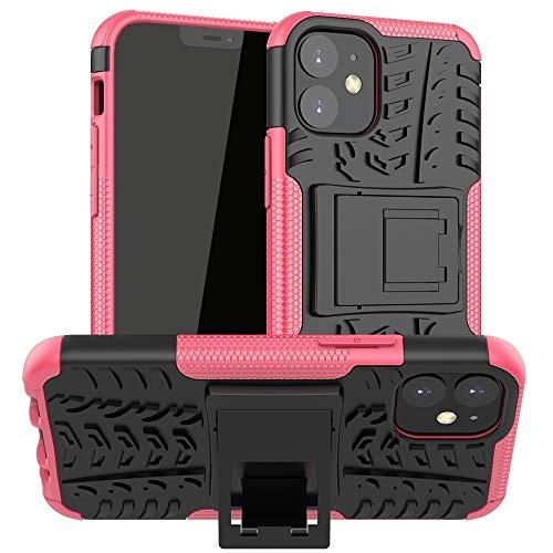 para iPhone 12 Mini Textura de neumáticos TPU + PC Funda Protectora con Titular (Color : Rose Red)
