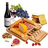 Goldblue Bamboo Cheese Board with Cutlery Set, Wood Charcuterie Platter and Serving Meat Board with Slide-Out Drawer Wedding Gifts For The Couple Housewarming Gifts