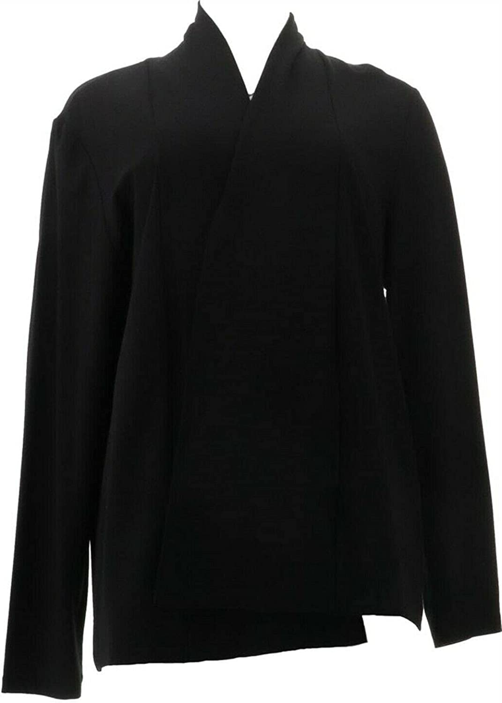 Isaac Raleigh Mall Mizrahi Drape Front Knit A387519 Cardigan Super beauty product restock quality top! Black Medium