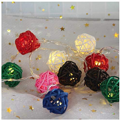 DHQSS lichtsnoer met rotanbal, 1,5 m, 10 leds, bloemen, decoratie, voor binnen, bruiloft, verjaardag, feest, Valentijnsdag, Kerstmis, werkt op batterijen