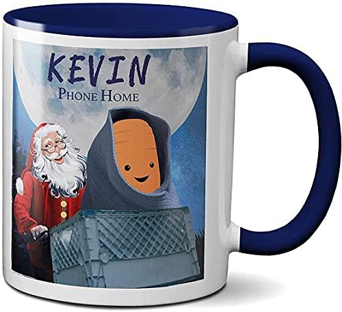 Kevin Zanahoria Phone Home Novedad Taza Aldi Christmas Advert 2020 E.T Alien Bike Basket Moon Mango de cerámica resistente, apto para lavavajillas y microondas