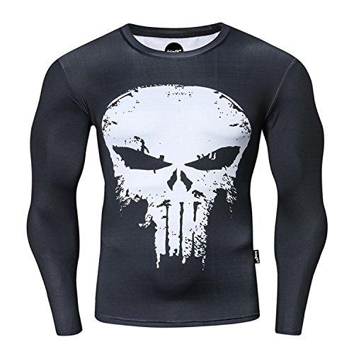 Nessfit Camiseta de compresión para hombre de superhéroe de manga larga con capa de base superior, para gimnasio, para correr, entrenamiento térmico