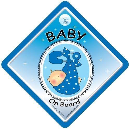 Baby On Board Panneau bébé à bord, petit-fils ou petite-fille, bébé enfant avec inscription Baby On Board Écharpe bleue ronde Baby On Board Autocollant bébé à bord en anglais avec bébé à bord, petit-fils ou petite-fille
