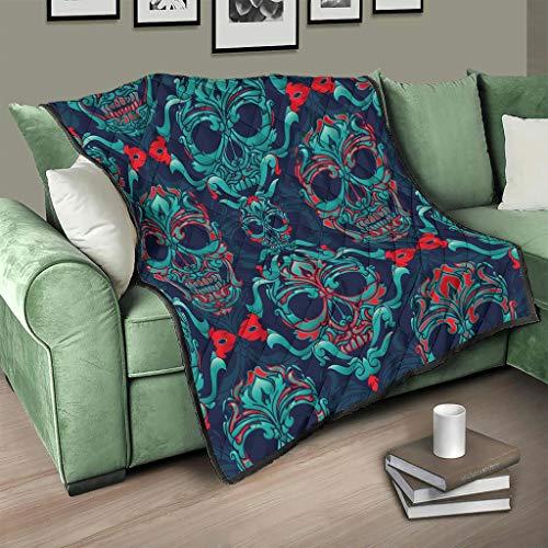 Flowerhome Totenkopf Steppdecke Tagesdecke Bettdecke Bettüberwurf Sofadecke Couchdecke Schlafdecke Wohndecken Kuscheldecken für Sofa Couch Bett White 130x150cm