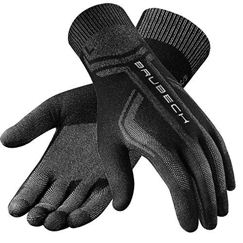 BRUBECK Handschuhe zum Laufen Damen & Herren | Sporthandschuhe nahtlos | Schwarze Innenhandschuhe für Motorrad Skifahren | Outdoor Gloves | Motorradfahren | Gr. L - XL | Schwarz | GE10010A