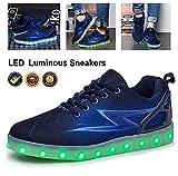 Baskets mode USB Carga LED Mujer Zapatos De Deporte Verano 7 Color Calzado Deportivo Ligero Transpirable Shoes Zapatillas Luces Luminosos Flash Sneaker for New Year Christmas