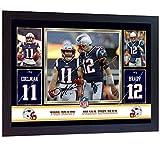 SGH SERVICES Affiche encadrée Tom Brady Julian Edelman New England Patriots Broncos NFL avec autographe de Football américain et NFL encadré avec Cadre en MDF # 1