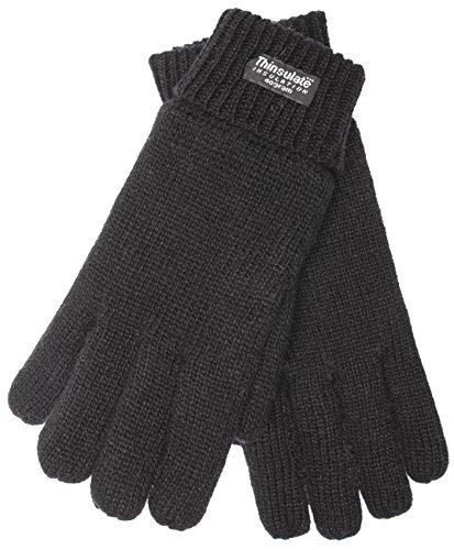 EEM Herren Strick Handschuhe LASSE mit Thinsulate Thermofutter aus Polyester, Strickmaterial aus 100% Wolle; schwarz, XXL