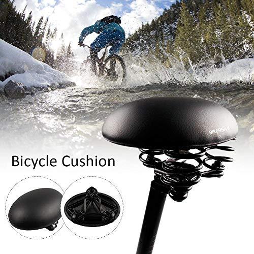 Chinejaper fietszadel voor dames en heren – comfortabel fietssadel met achterlicht, vering, zacht, schuimrubber bekleed, past op de meeste fietsen