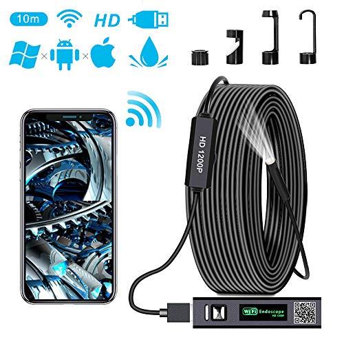 PiAEK Endoscopio Android Wireless WiFi Endoscopio iPhone iOS 1200P HD Sonda Telecamera Ispezione Impermeabile Cavo Semi-Rigido Endoscopio Compatibile con Smart Phone/Tablet/Laptop/PC(32,8FT)