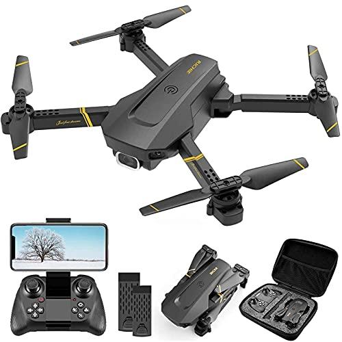 Drone - Drone fotocamera 1080P HD, quadricottero pieghevole con video live FPV grandangolare, volo traiettoria, controllo app, flusso ottico, drone di mantenimento dell'altitudine per adulti e bambini