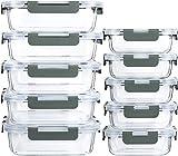 MCIRCO Glas-FrischhaltedosenSet für Lebensmittel ,20 Teile (10 Behälter, 10 Transparente Deckel)Spülmaschinen, Mikrowellen & Gefrierschrankfreundlich - Auslaufsicher, BPA-frei