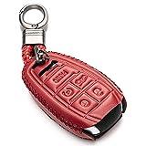 Vitodeco Genuine Leather Smart Key Fob Case Protector with Key Chain for 2017 - 2021 Alfa Romeo GIULIA, STELVIO, 4C SPIDER (5-Button, Red)
