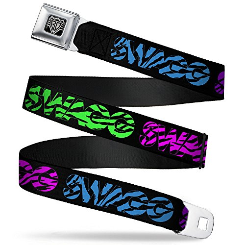 Buckle-Down Unisex-Adult's Seatbelt Belt Swag Quote Regular, SWAGG black/zebra multi neon 1.5' Wide-24-38 Inches