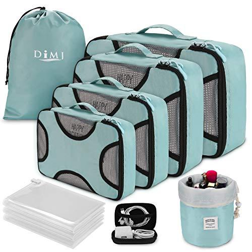 Organizer Valigia Set di 8, Organizzatori da Viaggio Cubi di Imballaggio Con Borsa per il vuoto Sistema di Cubo di Viaggio Dei Bagagli Organizzatore (blu)