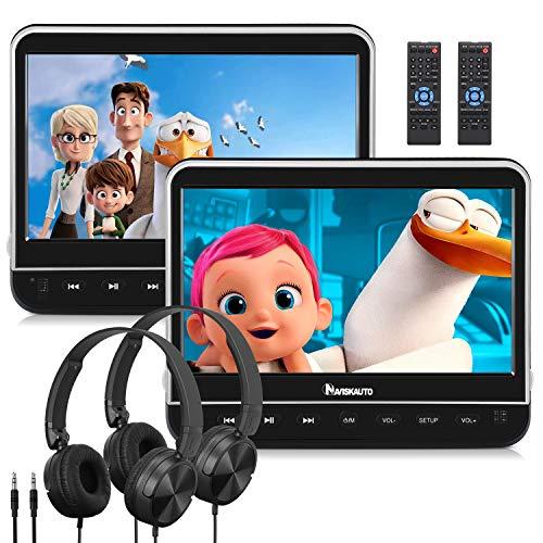 """10.1"""" DVD para Coche con 2 Pantallas Soporta HDMI, MP4, Dual Reproductor DVD para Reposacabezas con Auriculares Soporta Video 1080P/ MKV/USB/SD/AVI, AV-IN/out - NAVISKAUTO"""