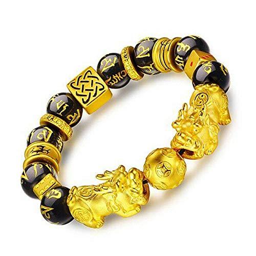 Prime Feng Shui armband welvaart dubbele Pi Xiu/Pi Yao zwarte Mantra kraal armband met gouden dobbelstenen aantrekkingskracht rijkdom en veel geluk