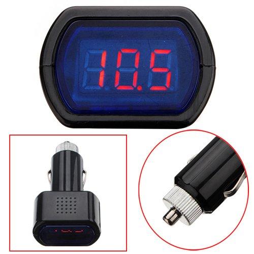 fitTek Voltmetro Digitale Misuratore LED Rosso Presa Accendisigari per Auto 12V/24V