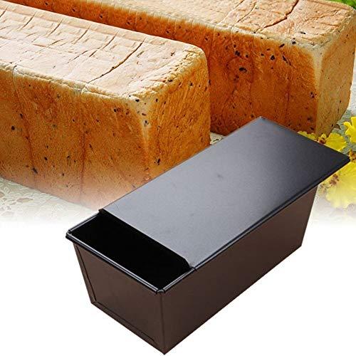 Bandeja de pan antiadherente, molde para pan tostado con tapa Moldes de pan para pan metal para hacer pasteles y tostadas (Negro)