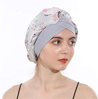 DuoZan Women's Soft Silky Satin Turban Elastic Wide Band Satin Bonnet Night Sleep Hat Hair Loss Cap