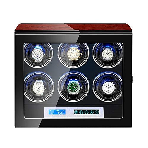 GUOYUN Enrollador Reloj Automático para 6 Relojes con Pantalla Control LCD Luz LED Almohadas Reloj Flexibles Acabado Pintura Piano