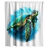 N\A Verano Tropical Ocean Animal Sea Turtle Cortina de Ducha Tela Niños Baño Decoración Set con Ganchos Impermeable Lavable