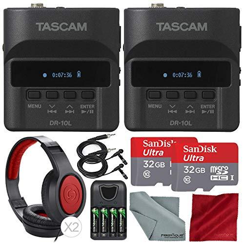 Tascam DR-10L Portable Digital Studio Recorder W/Lavalier Microphone, 32GB Card Headphones 2-Pack Deluxe Bundle