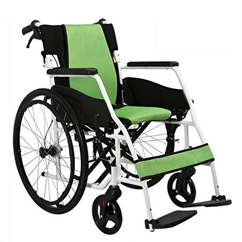 RONGW JKUNYU Los Pliegues de Ruedas Luz, sillas de Ruedas for Personas discapacitadas con Suaves Plegables Apoyabrazos, Apto for Incapaz de pie, Caminar Sillas de Ruedas