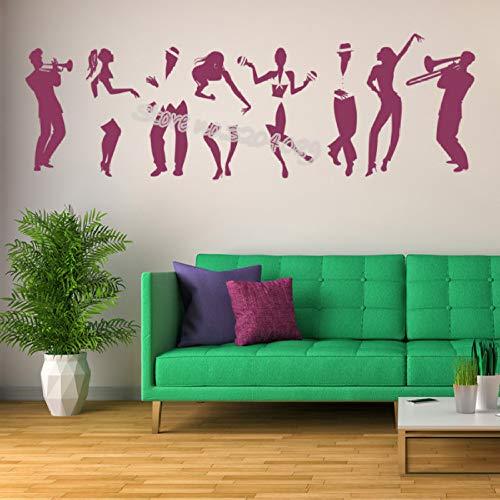 JXND Vinilos Decorativos de Baile de Salsa Salsa de Baile Latino Salsa Cubana Tatuajes de Pared Estudio de Baile Infantil jardín de Infantes Mural Interior 127x42cm
