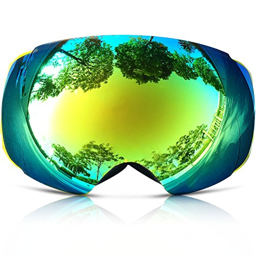 ZIONOR Snow Goggles, Lagopus X4 Ski Snowboard Goggles 100% UV400 Protection Anti-fog Magnet Lens-changing Dual-layer PC Lens Durable TPU Frame Full Venting for Adult and Teenager