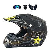 LALAGOU - Casco de motocross para niño, casco de moto, quad, casco de motocross, para adulto, para MTB, ATV, con gafas, guantes, máscaras, color múltiple (F, S (52-53 cm)