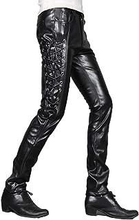 Idopy Men`s Rock Steampunk Lace Up PU Leather Pants Slim Fit