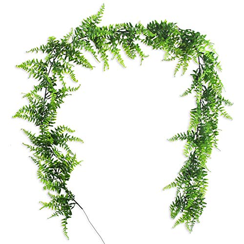 6.2 Ft Artificial Plants Vines Boston Ferns Persian Greenery Rattan Fake Faux Hanging Fern Vine UV Resistant Plants for Wall Indoor Outdoor Basket Planter Floral Wedding Garland Decor