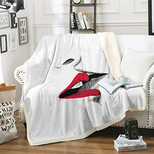 IMMDDBA Manta De Tiro 3D Labios Rojos Manta Estampada Tiro Ligero para Niños Adultos Manta De Cama De Franela Suave Y Cálida para Cama Sofá Camping Y Viajes - (Tamaño: 150X200Cm)