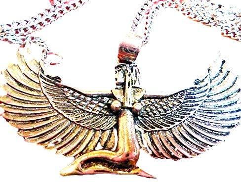 Halskette mit Anhänger, 925er Sterling-Silber, ägyptische Göttin mit Flügeln, Flügelspannweite 6,3 cm, 68,6 cm lange Kette