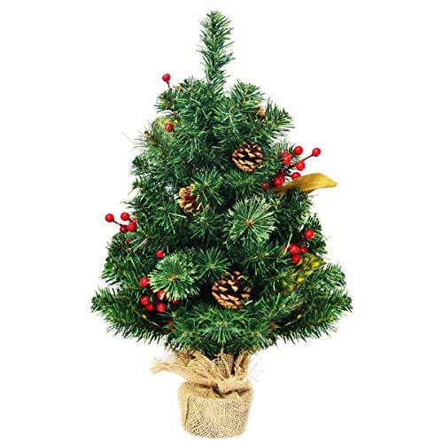 COSTWAY 60cm Künstlicher Mini Weihnachtsbaum, Tisch Tannenbaum mit Kiefernzapfen, Roten Beeren & Blätterdekoration, Christbaum 80 PVC Spitzen, Kunstbaum Weihnachten mit Zementbasis, grün