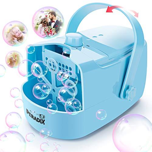 Peradix Macchina per Bolle Portatile,Bubble Machine Macchina per Bolle di Sapone con Due modalità di velocità, Bubble Maker Macchina Crea Bolle Alimen