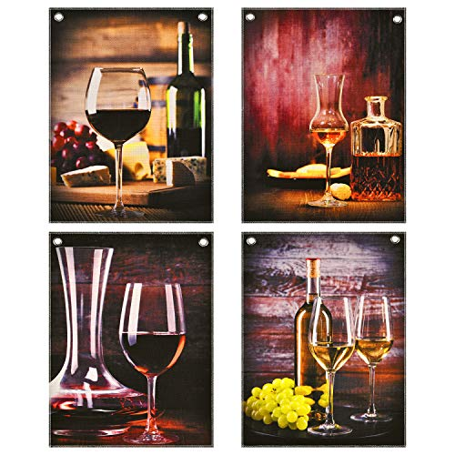 4 Pieces Kitchen Wall Art Red Wine Glass Painting Prints Grape Wine Goblet Painting Pictures Prints Modern Still Life Wall Artwork Without Frame for Dining Room (11.8 x 15.7 inches)